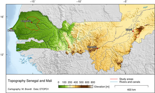 Study Regions In West Africa Micle Migration Climate Environment - Africa altitude map